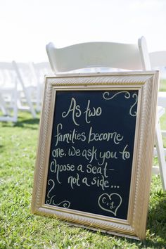 Wedding Ceremony Chalkboard Sign, Light Blue & Yellow Waterfront Tampa Bay Watch Wedding - Kimberly Photography (13)