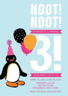 Pingu Inspired Printable Birthday Invitation noot by ReddishOrange, $9.50