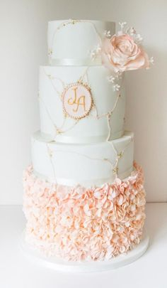 Pink trails, beaded clusters and blush ruffles - Cake by Happyhills Cakes