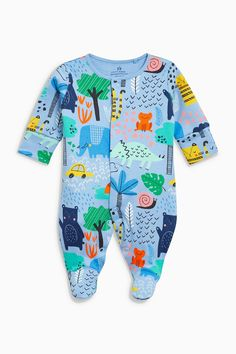 Buy Blue Animal Print Sleepsuit (0mths-2yrs) from the Next UK online shop