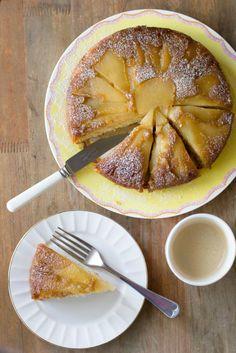 Caramelised Pear and Cardamom Cake // cake crumbs & beach sand