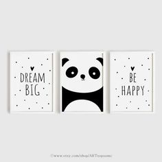 Printable Nursery Art Set of 3 Poster Baby room Wall art Kids room decor Black and White Be happy, Panda, Dream big poster print set 50 x 70 Baby Room Wall Art, Kids Room Art, Nursery Art, Art For Kids, Nursery Prints, Kids Rooms, Easy Canvas Art, Small Canvas Art, Diy Canvas