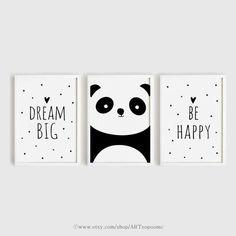 Printable Nursery Art Set of 3 Poster Baby room Wall art Kids room decor Black and White Be happy, Panda, Dream big poster print set 50 x 70 Baby Room Wall Art, Kids Room Art, Nursery Wall Art, Art For Kids, Painting For Baby Room, Kids Rooms, Baby Posters, Room Posters, Art Mural