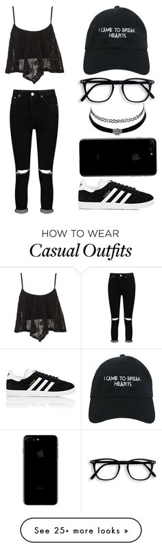"""Casual Set"" by casualbandgirl on Polyvore featuring adidas, Charlotte Russe, Boohoo, Nasaseasons, casual, black, teen and friday"