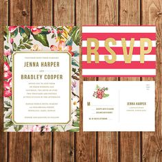 Hey, I found this really awesome Etsy listing at https://www.etsy.com/listing/212725080/tropical-wedding-invitation-coral-pink