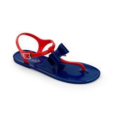 Chiara Bellini: two-colour thong sandal with pvc bow