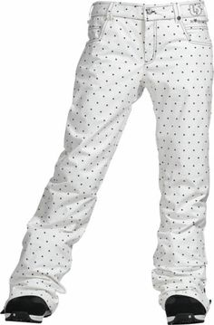 Burton TWC Flared Snowboard Pants Bright White Dot Print Womens