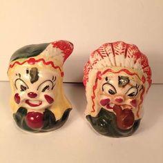 Native American Figural Cricket Ceramic Salt and Peppers Shaker Set Salt Pepper Shakers, Salt And Pepper, Big Bottle Of Wine, Indian Ceramics, Bbq King, Vintage Teddy Bears, Native American, Hand Painted, Stuffed Peppers