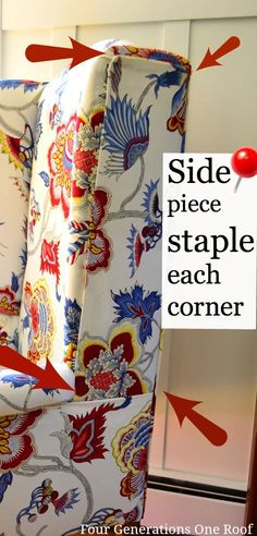 No Sew ~~ How to reupholster a chair using a staple gun. Quick and easy way to give an old tired chair a new look.