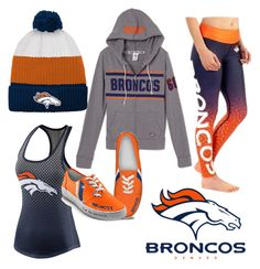 """Denver Broncos Game day outfit"" by niclizmartin on Polyvore featuring Outerstuff, NIKE and The Bradford Exchange"