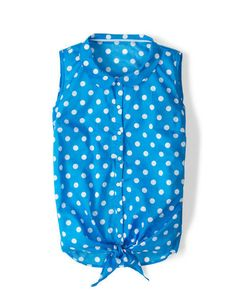 4d113d513cecb3 Boden Evelyn Shirt Blue White Polka Dot Size 4 Button Down Tie Front  Sleeveless