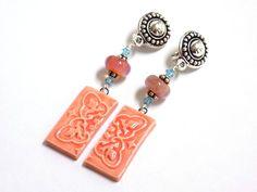 Clip on Dangle Earrings, Trendy Earrings, Orange Earrings for Women, Handcrafted Jewelry, Long Drop Earrings, Handmade Beaded Jewelry by BlondePeachJewelry on Etsy