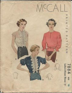 McCall 7884 1930s Ruffled Front Blouse Pattern
