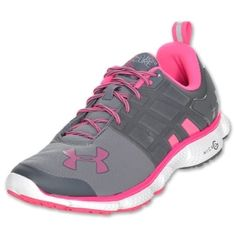 Under Armour Micro G Split Running Shoes Graphite/Cerise- Breast Cancer Awareness.