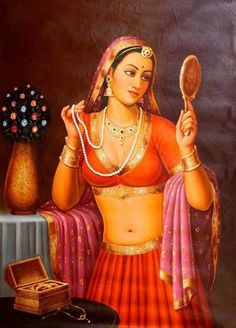 Padmini Nayika, Oils Oil Painting on CanvasArtist: Anup Gomay Indian Women Painting, Indian Art Paintings, Oil Paintings, Indian Artist, Nature Paintings, India Painting, Woman Painting, Painting Art, Rajasthani Painting