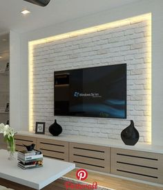 64 BEST TV WALL DESIGNS AND IDEAS - Page 20 of 64 The TV background wall mainly refers to the main wall in the living room and bedroom that reflects the decoration style. The position of the… Tv Cabinet Design, Tv Wall Design, Design Room, Ceiling Design, Home Design, Design Ideas, Stone Wall Design, Interior Design, Living Room Colors