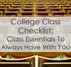 College Class Checklist. Everything from writing utensils to notebooks to foldable umbrellas -- what you should remember to pack when you go to class. college student tips #college #student