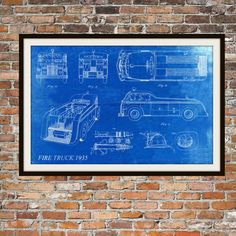 Blueprint Art of Fire Truck Fire Helmet Fire Hose 1935 Technical Drawings Engineering Drawings Patent Blue Print Art Item 0057 by BigBlueCanoe on Etsy https://www.etsy.com/listing/219799899/blueprint-art-of-fire-truck-fire-helmet