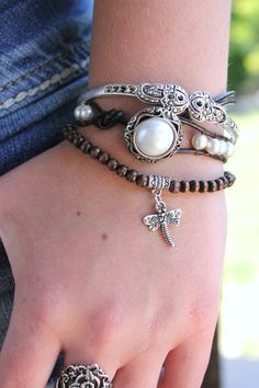 New from Ever Designs! White Pearl Boho Leather Wrap Bracelet. Love this one!