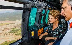 12/11/2015 - A presidente Dilma Rousseff sobrevo a região de Mariana, no interior de Minas Gerais, atingida pelo rompimento de duas barragens de rejeitos da mineradora Samarco na última quinta-feira (5)