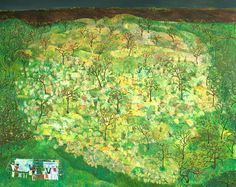 """May""—Sophia Heymans acrylic, string, cut up socks, tree seeds, oil on canvas. 48"" x 60"""