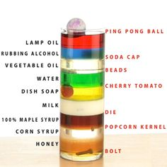 DIY Amazing 9-Layer Density Tower from Things Found in Your Kitchen by stevespanglerscience: Make objects float in the middle of a liquid with this amazing trick. #Science #Liquids #Density