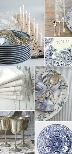 Passover Style: Rustic Blue and White like the candle holder. Rustic.
