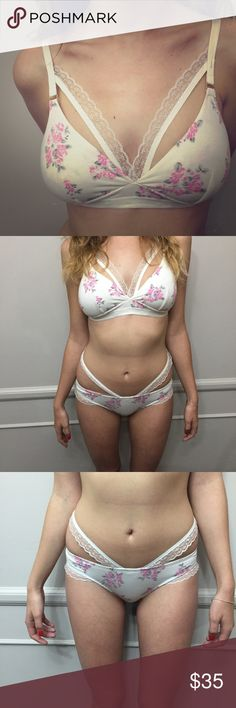 🌸 Kawaii pastel two piece white floral set 🌸 Super cute! Custom made strappy set; no brand. Love this so much! Top would fit cup size A-32D. Bottoms would fit XS-S. Worn once then washed. models measurements: 32D, Small, & 5'7. Ships within 1-3 days! Hello Kitty Intimates & Sleepwear Bras