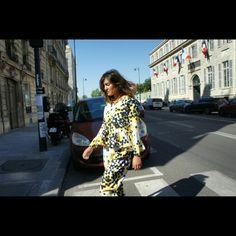 Walking in Paris in polkadots combinate top and pant