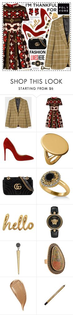 """""""Hello, Fashion Lives Here!"""" by hennie-henne ❤ liked on Polyvore featuring Paul Smith, Valentino, Christian Louboutin, Bottega Veneta, Links of London, Gucci, Allurez, Bombay Duck, Versace and Lucky Brand"""