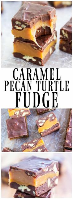 Turtle Fudge CARAMEL PECAN TURTLE FUDGE - traditionally known as Turtle Fudge it' one of my favorite sweet treats; it doesn't have to the holidays for me to enjoy this.Pecan Grove Pecan Grove may refer to: Brownie Desserts, Köstliche Desserts, Delicious Desserts, Dessert Recipes, Plated Desserts, Holiday Baking, Christmas Baking, Christmas Candy, Holiday Candy