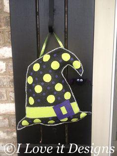 how to make a burlap football door hanger   Witches Hat Burlap Door Hanger by ILoveItDesigns on Etsy