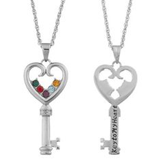 Personalized Platinum-Plated Family Birthstone Key to My Heart Necklace