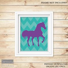 Horse Room Decor Western Purple Turquoise by SeriouslyPrintables