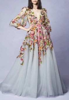 Prom dresses long with sleeves - Embroidered VNeck Gown, Long Sleeve Prom Dress,Tulle Party Dress,Flower Evening Dress,Party Dress With Appliques – Prom dresses long with sleeves Tulle Prom Dress, Party Dress, Dress Up, Maxi Dresses, 60s Dresses, Woman Dresses, Ladies Dresses, Club Dresses, Marchesa Gowns