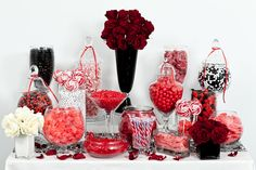 Red, Black, and White Candy Buffet with a little less black in it