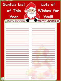 Free Printable Santas List -Use this JPEG or head over to finetemplates.org for the free download