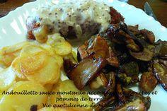 Andouillette sauce moutarde accompagnée de cèpes et pommes de terre