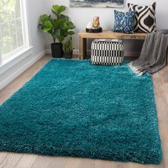 Juniper Home Orion Solid Teal Shag Area Rug x X Brown Taupe, Size x Teal Rug, Teal Area Rug, Peacock Blue Bedroom, Rectangular Rugs, Modern Spaces, Fashion Room, Outdoor Area Rugs, Online Home Decor Stores, Cool Rugs