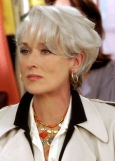 """meryl streep looked beautiful in """"the devil wears prada"""" with the short silver style."""