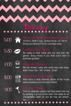 Bachelorette Invitation Bachelorette Party Invitation - Party invitation template: bachelorette party itinerary template