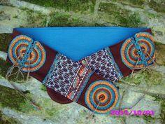 Stoffgürtel - Hippiegürtel Nr.27, braun-türkis-orange - ein Designerstück von Majoni bei DaWanda