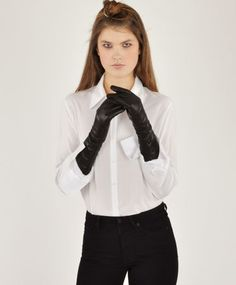 Samuji Black Long Leather Gloves