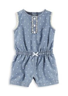Baby Girl Carter's Polka-Dot Chambray Romper, Size: 3 Months, Blue Other Carters Baby Girl, Baby Girl Romper, Baby Girls, Cool Baby Clothes, Fancy Dress For Kids, Little Girl Fashion, Girls Rompers, Toddler Outfits, Girl Outfits