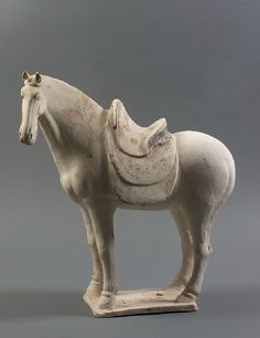 Chinese Terracotta Standing Horse Statue. Tang Dynasty 618-907 AD, China