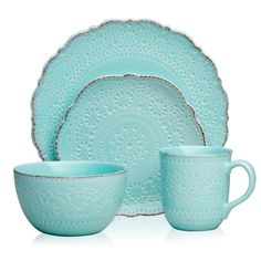 Pfaltzgraff Marseilles Stoneware Dinnerware Set – Assorted Colors – Sam's Club Teal Dinnerware, Outdoor Dinnerware, Stoneware Dinnerware, Eclectic Dinnerware, Dish Sets, Turquoise, Do It Yourself Home, Kitchen Dining, Kitchen Dishes