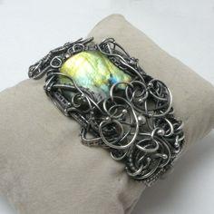 OOAK Silver wire wrapped bracelet with labradorite