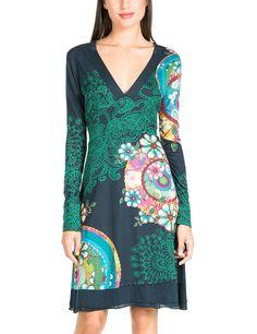 Desigual Women's Gare Long Sleeve V-Neck A-Line Dress, Marino, Size 8 (Manufacturer Size: X-Small)