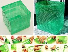 Plastic weaved baskets!  Tutorial: http://www.utsumi.com.br/pet/English/dicas/tutorial_caixa_1.html