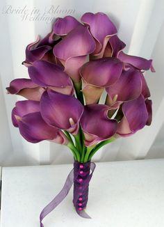 Calla lily Wedding bouquet plum purple by BrideinBloomWeddings Purple Calla Lilies, Purple Lily, Purple Wedding Bouquets, Purple Orchids, Plum Purple, Wedding Flowers, Lily Bouquet Wedding, Calla Lily Bouquet, Daisy Wedding